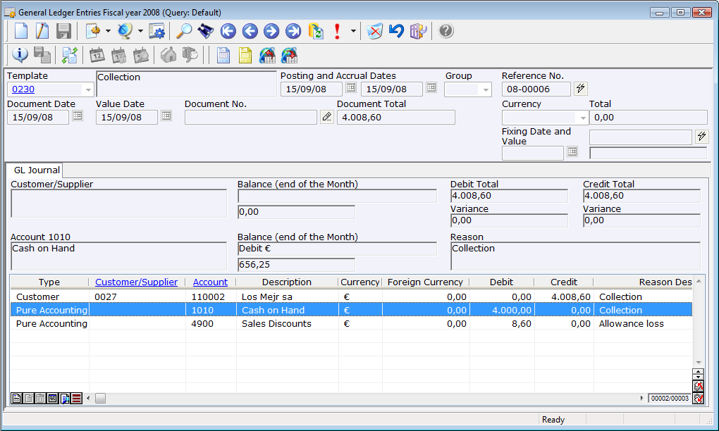 General ledger entry automatically generated